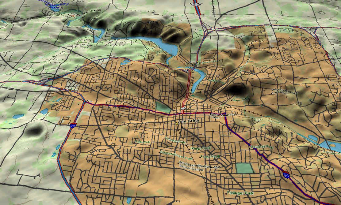 Map Of Ann Arbor Mi My Blog - 3d topographical map of us